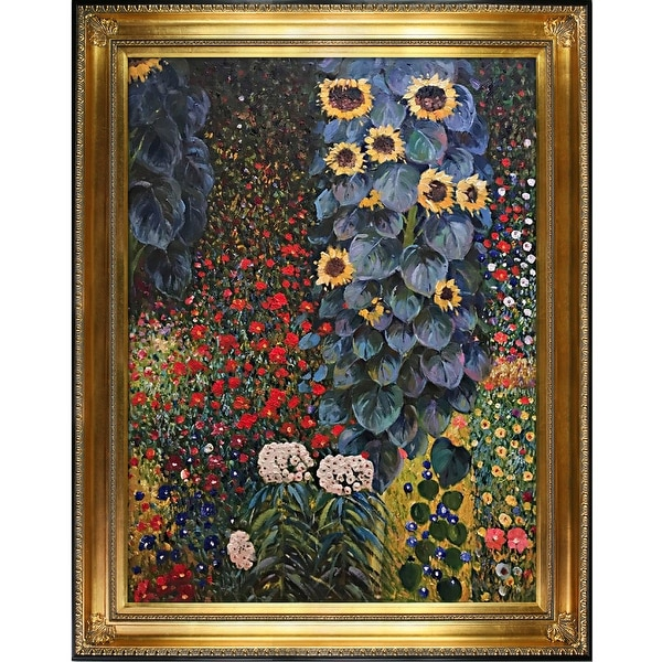 Farm Garden with Sunflowers by Gustav Klimt Framed Hand Painted Oil on Canvas