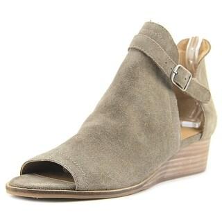 Lucky Brand Reevas Women Open Toe Suede Brown Wedge Heel