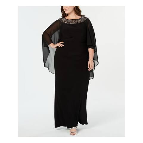 XSCAPE Womens Black Embellished Gown Chiffon Cape Jewel Neck Maxi Evening Dress Plus Size: 14W