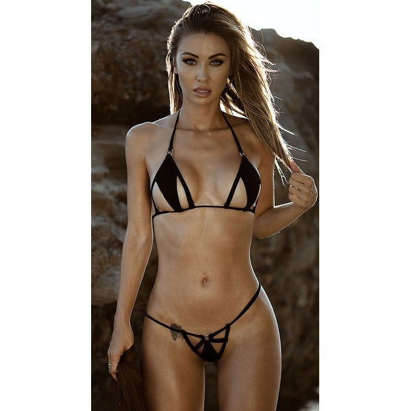 2328a649b6 Shop Cut-out Micro Bikini - Black - One Size Fits Most - Free Shipping On  Orders Over  45 - Overstock - 22251085