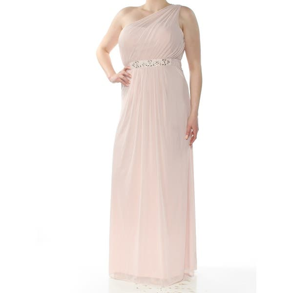 56dc2444b9 ADRIANNA PAPELL Womens Pink Embellished Sheer Asymmetrical Neckline  Full-Length Empire Waist Formal Dress Size: 18