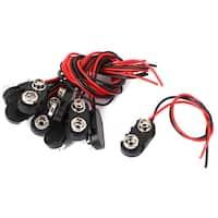 10 Pcs Black Plastic I Type 9V Battery Clip Connectors Buckle Cable Leads 15cm