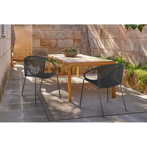 Snack Indoor Outdoor Stackable Steel Dining Chair with Black Rope - Set of 2