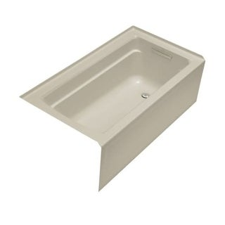 """Kohler K-1123-RA Archer Collection 60"""" Three Wall Alcove Soaker Bath Tub with Armrests, Lumbar Support and Right Drain"""