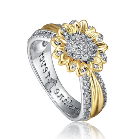 Collette Z Rhodium and 14K Gold Plated Cubic Zirconia Nature Inspired Ring
