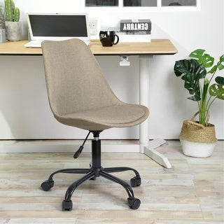 Link to Porch & Den Stringer Beige Fabric Molded Armless Swivel Office Chair Similar Items in Home Office Furniture