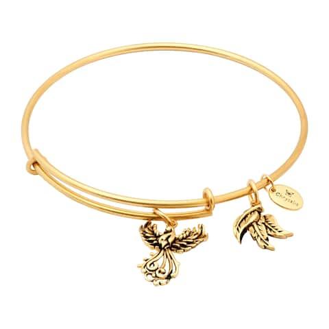 """Chrysalis 14K Gold-Flashed Brass Expandable Phoenix Bangle, 7-8.5"""" - Yellow"""