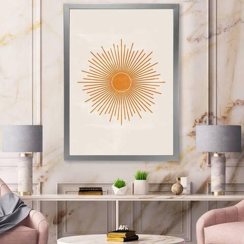 Designart 'Orange Sun Print II' Modern Framed Art Print