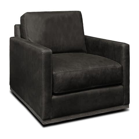 Monterrey Top Grain Leather Modern Americana Swivel Armchair