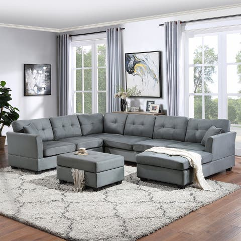 Sectional Sofa, U-Shape Upholstered Couch with Storage Ottoman