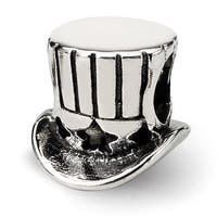 Sterling Silver Reflections Uncle Sam Top Hat Bead (4mm Diameter Hole)