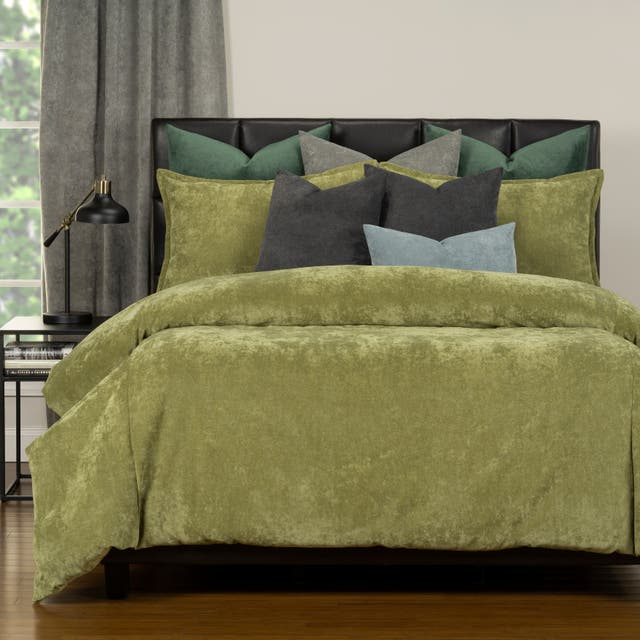 Mixology Padma 10 Piece Duvet Cover and Insert Set - Olive - Queen