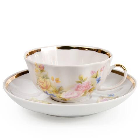 Cecille Gold Rim Porcelain Tea Cup and Saucer