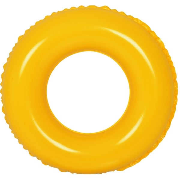"""24"""" Classic Round Yellow Inflatable Swimming Pool Inner Tube Ring Float"""