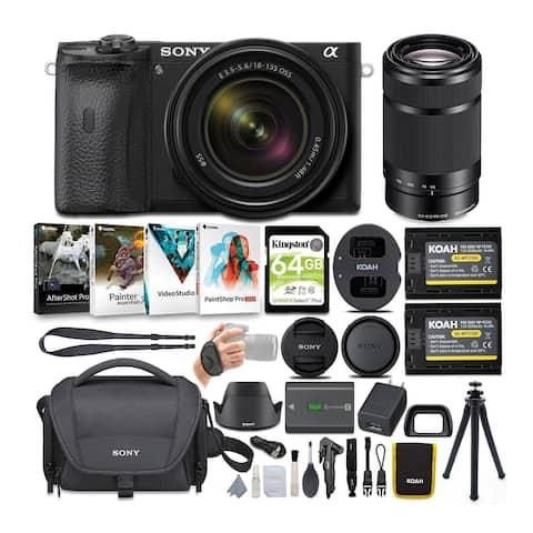 Sony Alpha a6600 Mirrorless Camera Bundle w/18-135mm & 55-210mm Lenses
