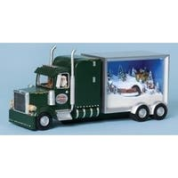"12.5"" Vibrantly Colored Lighted Musical Truck Sleeper Santa Christmas Figure - green"