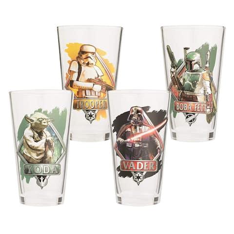 4pc Glass Set 16oz Vandor Yoda, Darth Vader, Boba Fett, Stormtrooper- Star Wars