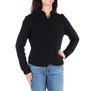 ANNE KLEIN $139 Womens 1292 Black Zip Up Open Cardigan Casual Jacket L B+B