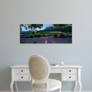 Easy Art Prints Panoramic Images's 'Mountain behind a lavender field, Provence, France' Premium Canvas Art