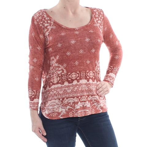LUCKY BRAND Womens Red Tribal Long Sleeve Scoop Neck T-Shirt Top Size: XS