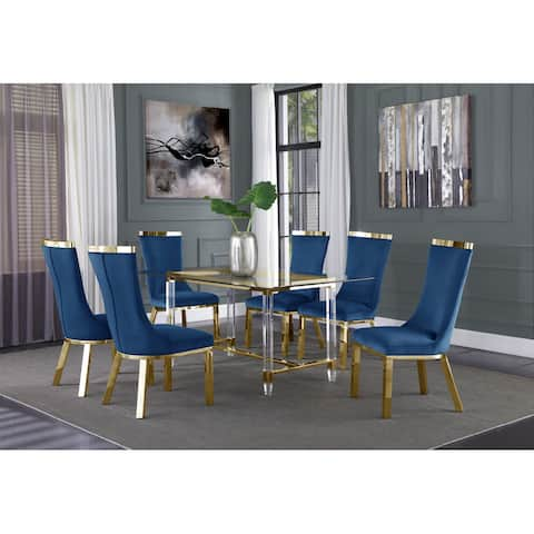 """Best Quality Furniture Modern Glass 68""""L 7pc Dining Set Gold Chairs"""