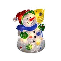"""12.5"""" Lighted Holographic Snowman Christmas Window Silhouette - RED"""