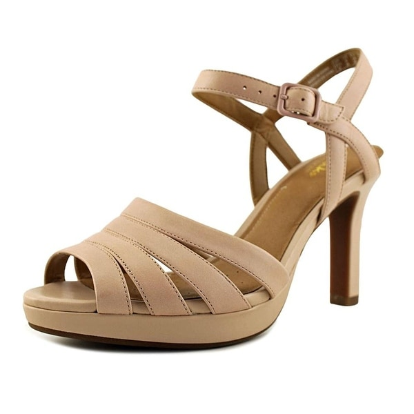 CLARKS Womens Mayra Poppy Leather Open Toe Casual Ankle Strap Sandals