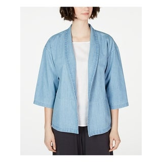 EILEEN FISHER Womens Blue Kimono Sleeve Open Cardigan Top  Size 2XS
