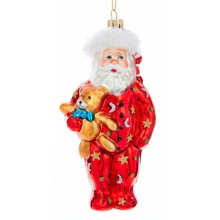 Santa in Pajamas with Teddy Bear Christmas Holiday Ornament Glass