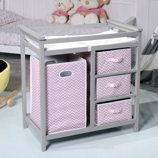 Costway Gray Pink Infant Baby Changing Table w/3 Basket Hamper Diaper