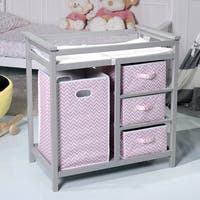 Costway Gray Pink Infant Baby Changing Table w/3 Basket Hamper Diaper Storage Nursery - gray pink