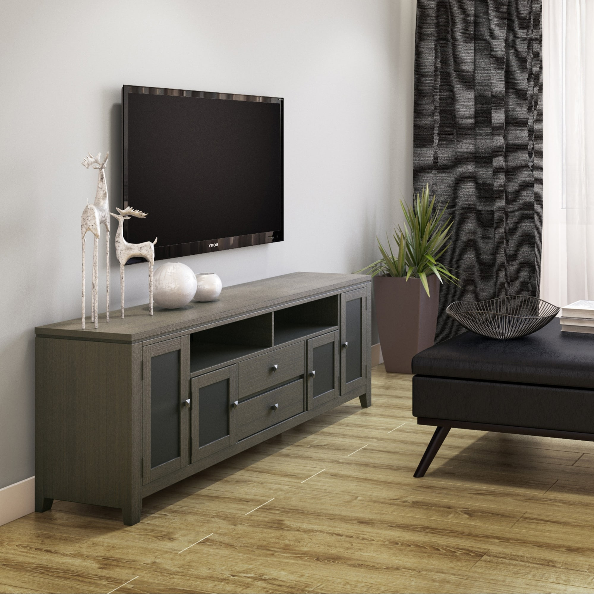 Shop Wyndenhall Essex Solid Wood 72 Inch Wide Contemporary Tv Media Stand For Tvs Up To 80 Inches Overstock 8772089
