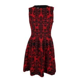 Anne Klein Women's Sleeveless Flare Dress - vibrant red combo - 6