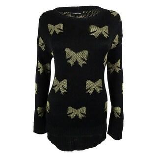 Rampage Juniors' Metallic Long Sleeves Sweater - Caviar