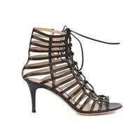 Gianvito Rossi Womens Black Caged Leather Lace Up Sandal Heels