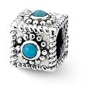 Sterling Silver Reflections Square Turquoise Bead (4mm Diameter Hole) - Thumbnail 0