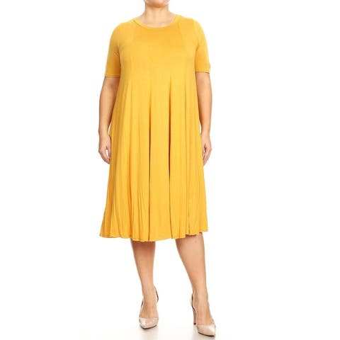Women's Plus Size Short Sleeves Oversized Midi Dress