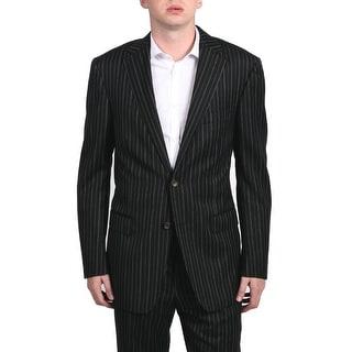 Versace Collection Men's Pinstripe Two-piece Wool Suit Black/Brown