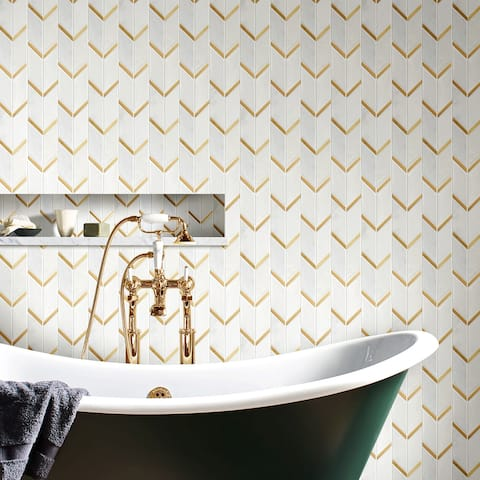 TileGen. Natural Bianco Chevron Metal and Marble Mosaic Tile in Gold/White Wall Tile (10 sheets/10.4sqft.)