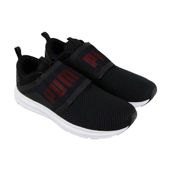 e06026163718 Shop Puma Enzo Strap Mens Black Mesh Athletic Slip On Running Shoes ...