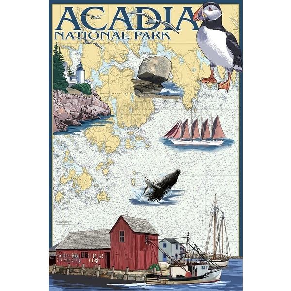 Acadia Park, ME - Nautical Chart - LP Artwork (Cotton/Polyester Chef's Apron)