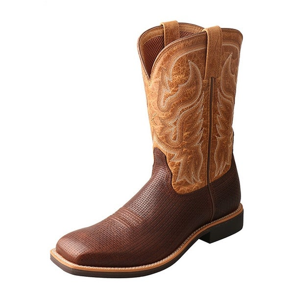 Twisted X Western Boots Mens Red Buckle Top Hand Pull On Tawny