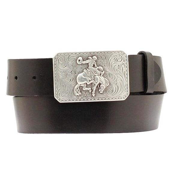 Nocona Western Belt Mens Leather Smooth Bronc Black