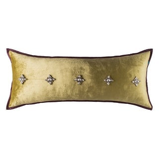 100% Handmade Imported His Majesty Pillow Cover, Light Golden Green, Purple Trim