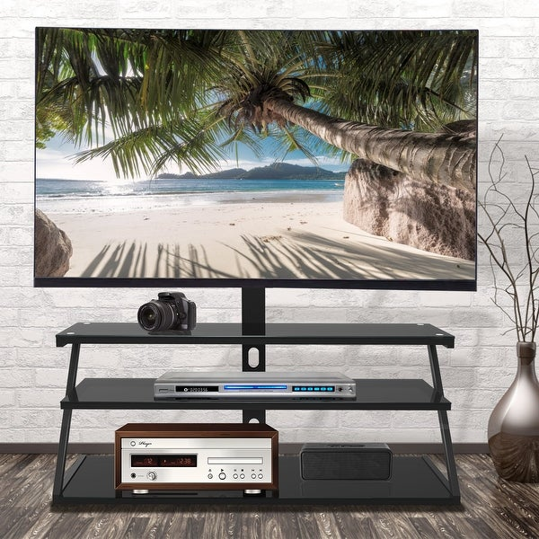 Global Pronex Swivel Floor 3-layer Glass Universal TV Stand with Mount, Height and Angle Adjustable for Most 32-65 inch. Opens flyout.