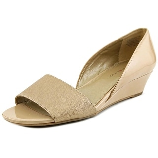 Bandolino Gerritsen Women Open Toe Synthetic Tan Wedge Sandal