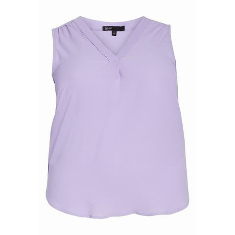 Gibson Womens Lilac Sleeveless Textured High-Low Tank Top