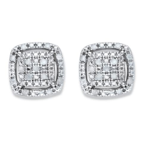 Platinum over Silver Genuine Diamond Squared Cluster Button Earrings