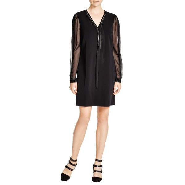 Elie Tahari Womens Pencey Cocktail Dress Silk Chain Trim