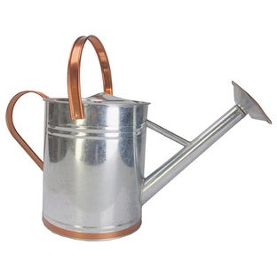 Panacea 84895 2 Gal. Galvanized Steel Watering Can With Faux Copper Accent Trim